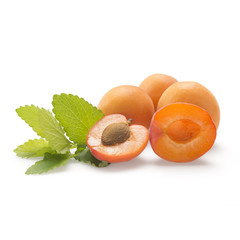 Apricot fruit with green leaf