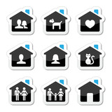 Home, family vector icons set