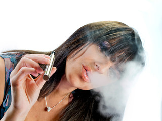 brunette   girl smoking electronic cigarette
