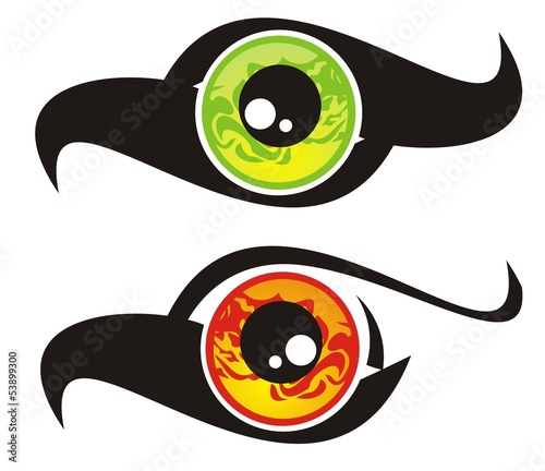 Eye symbol in the form of a bird. Green and red options