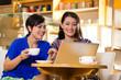 Young women in an Asian coffeeshop