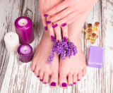 Fototapety Beautiful woman Hands and sole. Manicure concep