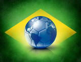 soccer ball with world map on brazilian flag
