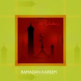 ramadan kareem bright colorful card illustration vector