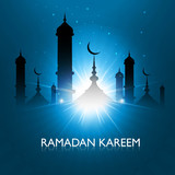 Vector illustration ramadan kareem shiny blue colorful backgroun