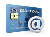 Credit card and arobase sign on white background