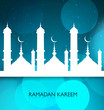 Shiny ramadan kareem mosque blue colorful vector background