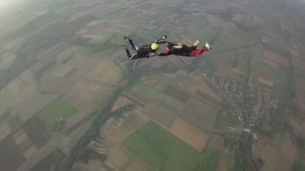 Skydivers in free fall