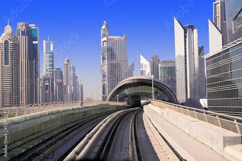 Fotobehang Dubai A general view of the metro Dubai, United Arab Emirates