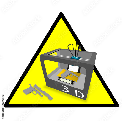 3D Printer Gun Danger Yellow