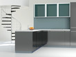 Interior of modern kitchen.