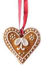 Christmas gingerbread cookie hanging on white background