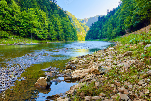 Stones and rocks in the morning in The Dunajec River Gorge - 53903112