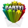 Party Word Starburst Fireworks Envelope  Event Invitation
