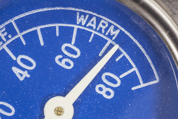 Vintage Blue Refrigerator Thermometer Macro Detail