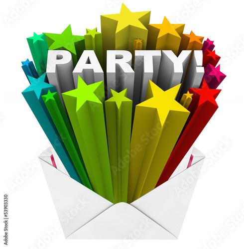 Party Word Starburst Fireworks Envelope  Event Invitation