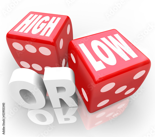 High or Low Two Dice Words Minimum Maximum More Less