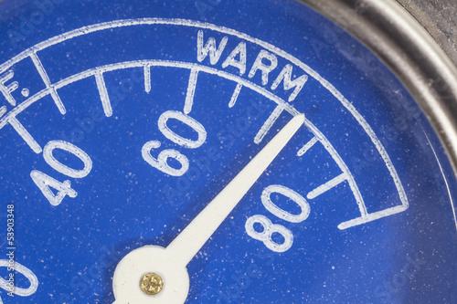 Vintage Blue Refrigerator Thermometer Macro Detail