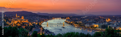 Fotobehang Oost Europa Panoramic view over the budapest at sunset