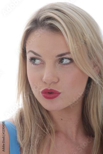 Attractive Young Woman Pursed Lips