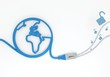 unsafe symbol with network cable and world symbol