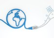 free icon with network cable and world symbol
