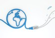 brain symbol with network cable and world symbol