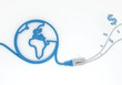 Dollar icon with network cable and world symbol