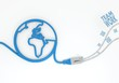 Teamwork icon with network cable and world symbol