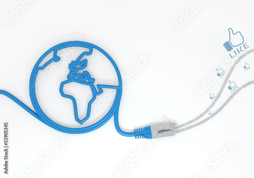 like symbol with network cable and world symbol