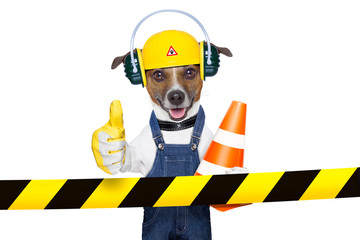 under construction dog