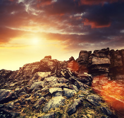 rock face sun flare