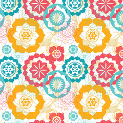 floral sacred geometry lotus seamless pattern