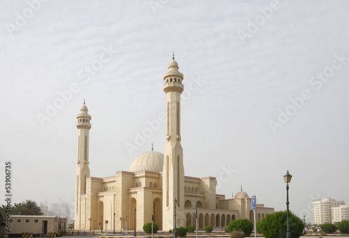 Beautiful Al Fateh Mosque of Bahrain during duststorm