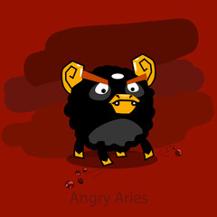 Angry horoscope: Aries. Vector