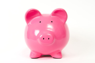 Pink Piggy Bank in a white background
