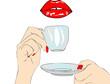 Un buon mattino ha il caffè in bocca