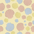 Vector seamless pattern with colorful shells