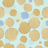 Vector seamless pattern with shells on a blue background