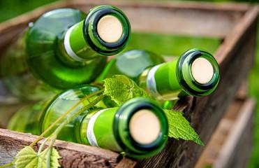 Weißweinflaschen in einer Holzkiste