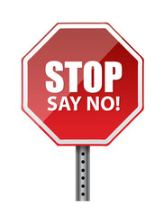 stop, say no. illustration design