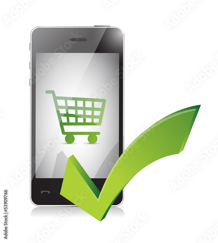online shopping basket on a mobile phone