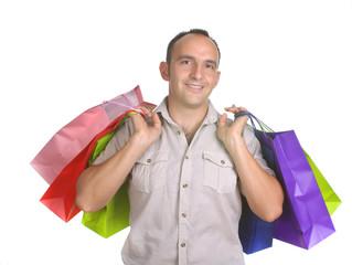 hombre cargado de bolsa de la compra