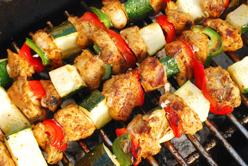 grilled chicken and vegetable shashliks