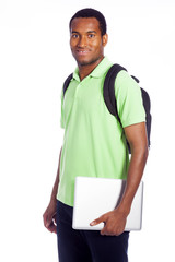 Happy college student holding laptop, isolated on white backgrou