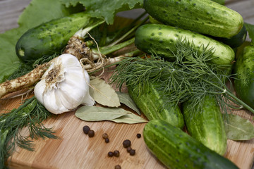 Cucumbers and spices