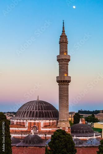 Mosque of Suleimaniye, Rhodes island at dusk , Greece