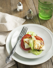 Fried Halloumi Cheese and tomato salad
