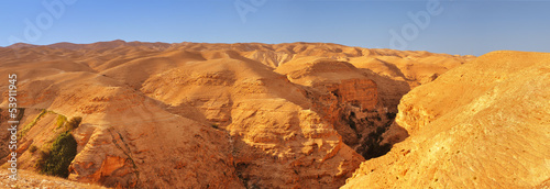 Judean desert. Panoramic view towards the Monastery of Tempation