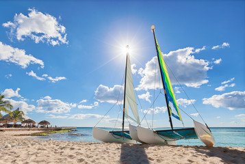 Catamaran on beach
